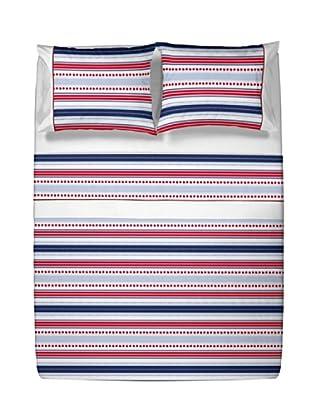 Casual Textil Juego de Sábanas Susistripe (Azul/Rojo)