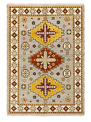 Hand-Knotted Royal Kazak Rug, Light Gray, 5' 6