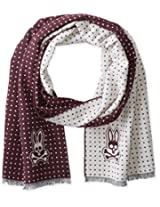 Psycho Bunny Men's Polka Dot Reversible Scarf, Bordeaux, One Size