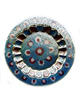Rastogi Handicrafts Brass Inlaid Worked & Enamel coloured Wall Hanging Decorative Plate 28x28 cm