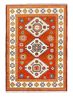 eCarpet Gallery One-of-a-Kind Hand-Knotted Royal Kazak Rug, Dark Orange, 4' 2