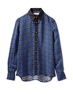 MARNI Women's Circle Print Button Front Shirt (Green/Blue)