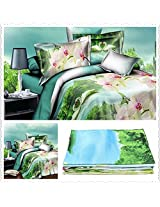 3 Or 4pcs 3D Swan Flowers Reactive Dyeing Polyester Fiber Bedding Set Queen Size