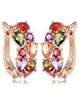 18K Gold Plated Top Quality AAA Swiss Cubic Zirconia Hoop Earrings By Via Mazzini (ER0717)