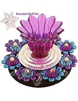 Ghasitaram Gifts Blue Purple Light Diya with 400 gms Kaju Katli