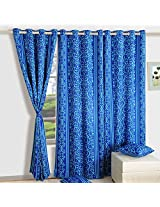 Swayam Printed Blackout Window Curtain With Eyelets - Blue