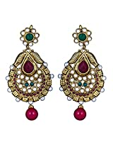 Tribal Zone Drop Earrings for Women (Golden and Multi-Color) (VDER014)