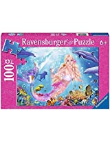 Ravensburger Mermaid And Dolphins Glitter Puzzle (100 Piece) By Ravensburger