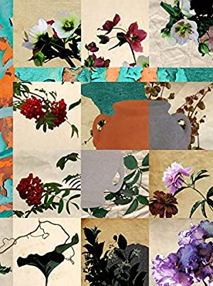 Contemporary Living Wandbild Collage Flowers mehrfarbig