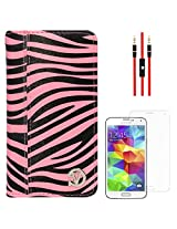 VanGoddy Mary Zebra Print Portfolio Self Stand Book Style Case Cover For Samsung Galaxy S5 G900 (Magenta) + AUX Cable + Matte Screen
