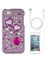 VanGoddy Hearts Rhinestones Full Diamond Back Cover for Apple iPhone 5s (Purple) + Data Cable + Matte Screen