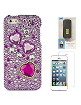 VanGoddy Hearts Rhinestones Full Diamond Back Cover for Apple iPhone 5s (Purple) + 6000 mAh PowerBank + Matte Screen