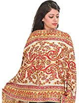Exotic India Stole from Kashmir with Ari-Embroidered Paisleys by Hand - Color PapyrusColor Free Size