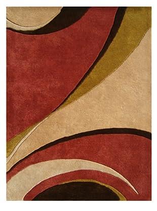 Alliyah Rugs Geometric Rug (Red/Beige/Chocolate)