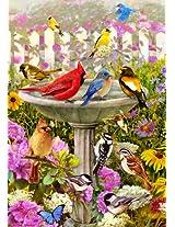 Spring Summer Bird bath Friends Song Bird Garden Flag