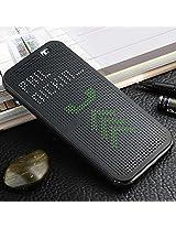 Defender Premium Best DOT VIEW Bumper Touch Flip Case Cover with Sensor For HTC Desire 620 / 620G - Black