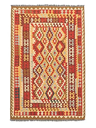 Hand Woven Anatolian Wool Kilim, Light Orange/Light Red, 6' 4