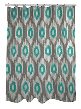 One Bella Casa Kelly Ikat Shower Curtain, Grey/Turquoise