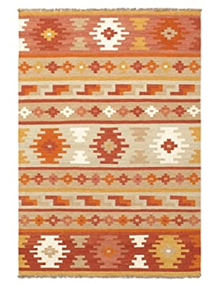 Hand Woven Izmir Wool Kilim, Brown/Orange, 4' 2