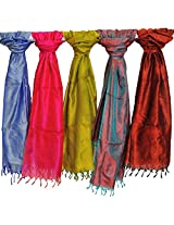 Exotic India Lot of Five Pure Silk Scarves with Tanchoi Weave - Multi-Coloured