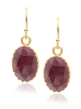 Kevia Rococo Ruby Oval Rose Cut Earrings