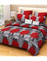 Home Candy 100% Cotton Red Roses Double Bed Sheet with 2 Pillow Covers