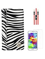 VanGoddy Mary Zebra Print Portfolio Self Stand Book Style Case Cover For Samsung Galaxy S5 G900 (White) + AUX Cable + Matte Screen