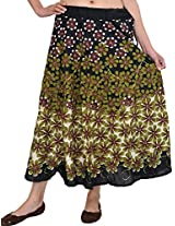 Exotic India Black Midi-Skirt with Printed Flowers and Embroidered Sequi - Black