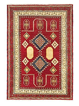 Hand-Knotted Royal Kazak Wool Rug, Dark Red, 5' 7