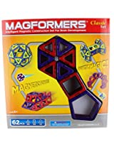Magformers Classic 62 Piece Magnetic Construction Set (Red & Purple)