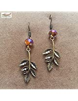 Under the Feather Charm Earrings- Bronze Branch
