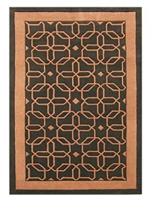Alliyah Rugs New Zealand Wool Rug (Forest Green/Coral Rose)