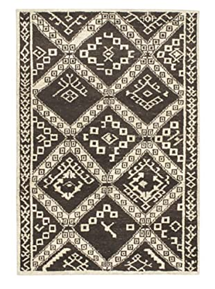 Hand-Knotted Himalaya Gabbeh Wool Rug, Black Yellow/Cream, 4' x 5' 1