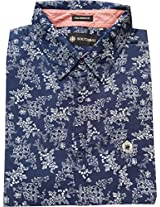 AA' Southbay Men's Navy Floral Print 100% Cotton Long Sleeve Casual Shirt - Size 5XL