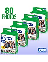4 pack of Fujifilm Instax 20 Count Wide format Film (80 photos) Bundle Kit for Fujifilm Instax 200 and 210 camera