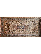 Exotic India Kashmiri Carpet with Knotted Flowers All-Over - Silk on Cotton