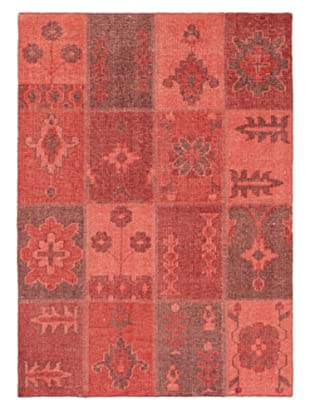 Hand-Knotted Ushak Patch Wool Rug, Red, 4' 7