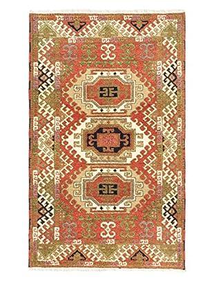 Hand-Knotted Royal Kazak Rug, Copper/Dark Yellow, 3' 1