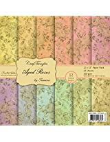 CrafTangles Scrapbook & Craft paper pack - Aged Roses (12 by 12 Patterned Paper)