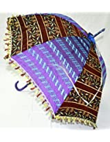 Traditional Jaipuri Designer Silk Umbrella Embellished with Embroidery work Parasol 30 X 34 Inches