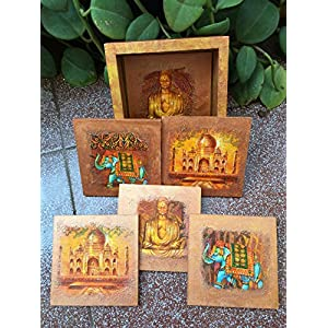 RTKS Creations Square Coaster Set(6 Pics with one holder) - Indian Theme