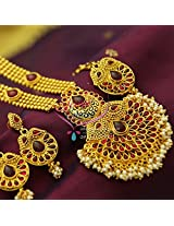 Indian Traditional Temple Kempu Gold Imitation Artificial Jewellery Beads Design Long Necklace