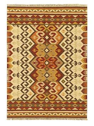 Hand Woven Ankara Wool Kilim, Beige, 5' 7