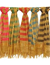 Exotic India Lot of Five Striped Dupattas from Banaras - Multi-Coloured