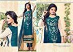 Georgette Embroidered Green Semi Stitched Straight Fit Suit - 26445