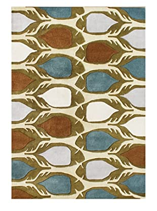 Znz Rugs Gallery Handmade Tufted New Zealand Blend Wool Rug (Cream/Blue/Brown)