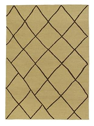 Hand Woven Natural Wool Flatweave Kilim, Beige, 4' 7