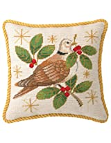 Peking Handicraft 12-Inch by 12-Inch Needle Point Pillow, Winter Dove