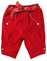 Infant Girls Polka Printed Trouser With belt, Red (0-6 Months)