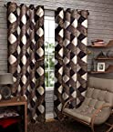 Elegance brown check polyester window set of 2 curtain (5 Ft)